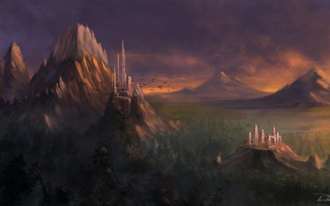 art_landscape_mountains_rocks_forest_castle_hd-wallpaper-387244